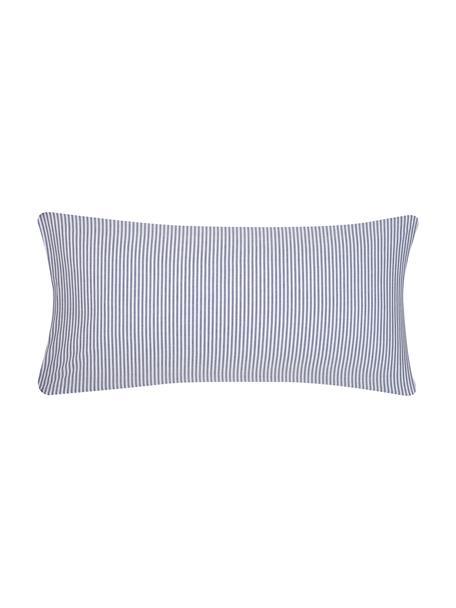 Baumwoll-Kissenbezüge Ellie in Blau/Weiß, fein gestreift, 2 Stück, Webart: Renforcé Fadendichte 118 , Weiß, Dunkelblau, 40 x 80 cm