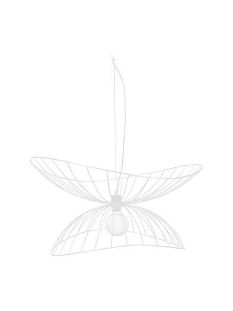 Lámpara de techo de diseño Ray, Pantalla: metal recubierto, Anclaje: metal, Cable: cubierto en tela, Blanco, Ø 70 x Al 36 cm