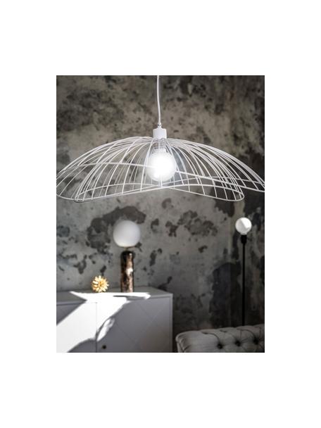 Lampada a sospensione di design Ray, Paralume: metallo rivestito, Baldacchino: metallo, Bianco, Ø 70 x Alt. 36 cm