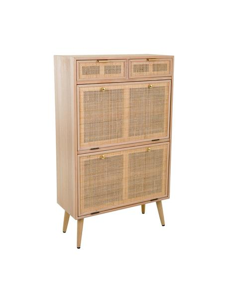 Schoenenkast Cayetana van hout, Frame: MDF, fineer, Handvatten: metaal, Poten: bamboehout, gelakt, Bruin, 70 x 120 cm