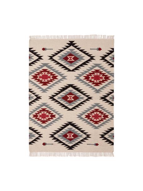 Alfombra de lana artesanal Zohra, Parte superior: 90%lana, 10%algodón, Reverso: lana, Beige, gris, negro, rojo, An 120 x L 170 cm (Tamaño S)