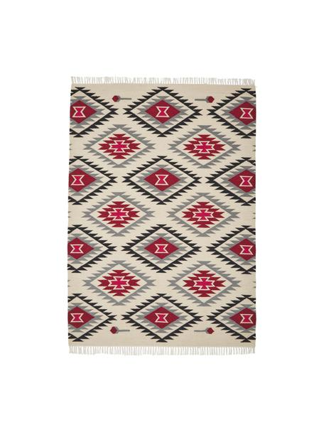 Alfombra de lana artesanal Zohra, Parte superior: 90%lana, 10%algodón, Reverso: lana Las alfombras de lan, Beige, gris, negro, rojo, An 120 x L 170 cm (Tamaño S)