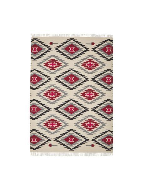 Tappeto kilim in lana tessuto a mano Zohra Rose, Retro: 100% lana Nel caso dei ta, Beige, grigio, nero, rosso, Larg. 120 x Lung. 170 cm (taglia S)