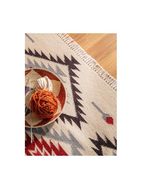 Handgeweven kelim vloerkleed Zohra Rose van wol, Bovenzijde: 90% wol, 10% katoen, Onderzijde: 100% wol Bij wollen vloer, Beige, grijs, zwart, rood, B 120 x L 170 cm (maat S)