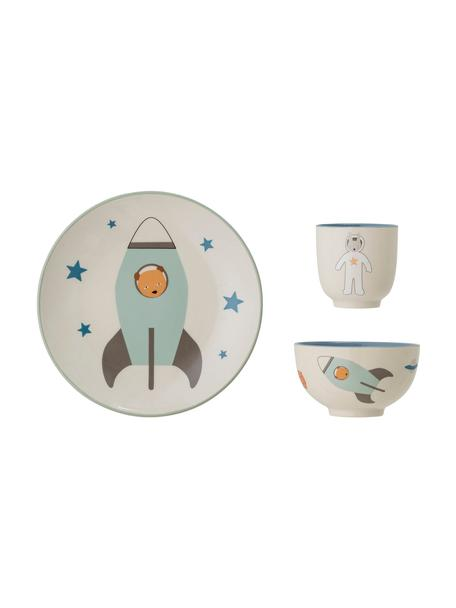 Set stoviglie Space 3 pz, Gres, Bianco latteo, multicolore, Set in varie misure