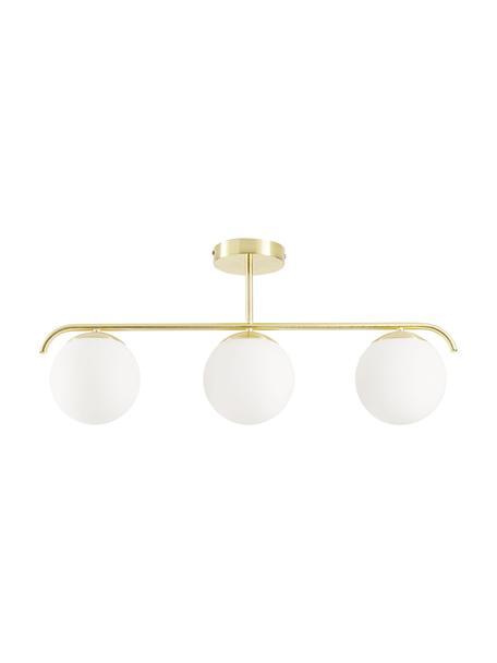 Lámpara de techo de vidrio opalino Grant, Estructura: metal recubierto, Anclaje: metal recubierto, Blanco, latón, L 70 x Al 30 cm