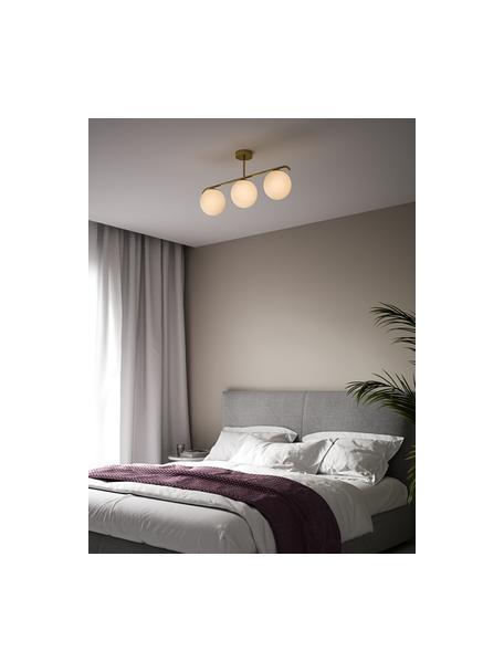 Plafondlamp Grant van opaalglas, Baldakijn: gecoat metaal, Wit, messingkleurig, 70 x 30 cm
