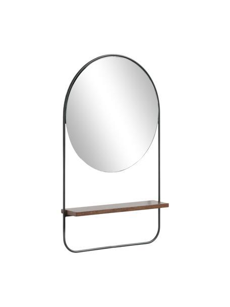 Specchio rotondo da parete con mensola Marcolina, Cornice: metallo rivestito, Mensola: pannello di fibra a media, Superficie dello specchio: lastra di vetro, Nero, Ø 37 x Prof. 8 cm