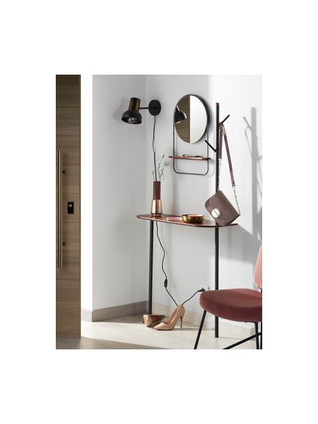 Ronde wandspiegel Marcolina met plank, Frame: gecoat metaal, Plank: gecoat MDF, Zwart, Ø 37 x D 8 cm