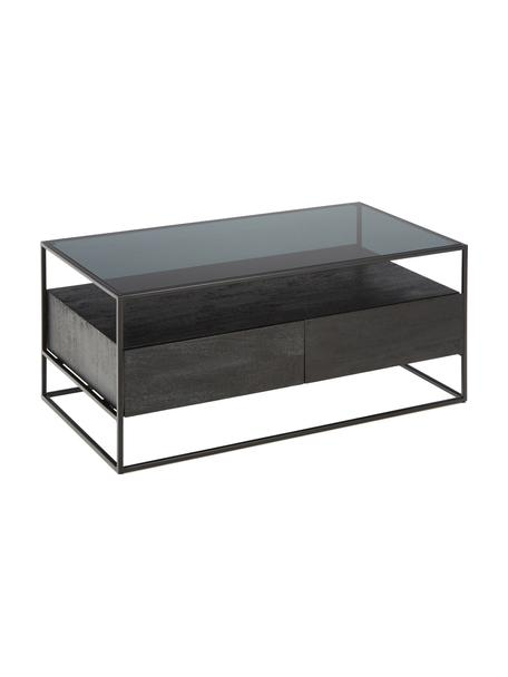 Tavolino da salotto con cassetti Theodor, Piano d'appoggio: vetro, Struttura: metallo, verniciato a pol, Nero, Larg. 100 x Alt. 45 cm