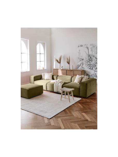 Modulares Sofa Lennon (4-Sitzer) mit Hocker in Grün, Bezug: Polyester Der hochwertige, Gestell: Massives Kiefernholz, Spe, Webstoff Grün, B 327 x T 207 cm