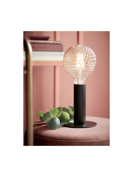 Kleine Tischlampe Dean aus Metall, Lampenfuß: Messing, lackiert, Schwarz, Ø 13 x H 15 cm