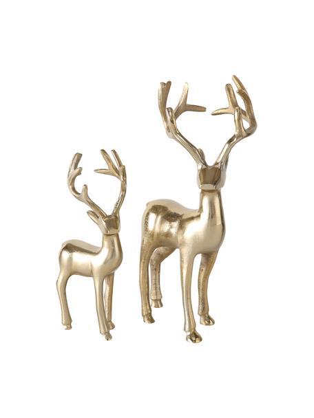 Figuras decorativas ciervos Thielo, 2uds., Aluminio recubierto, Latón, Set de diferentes tamaños