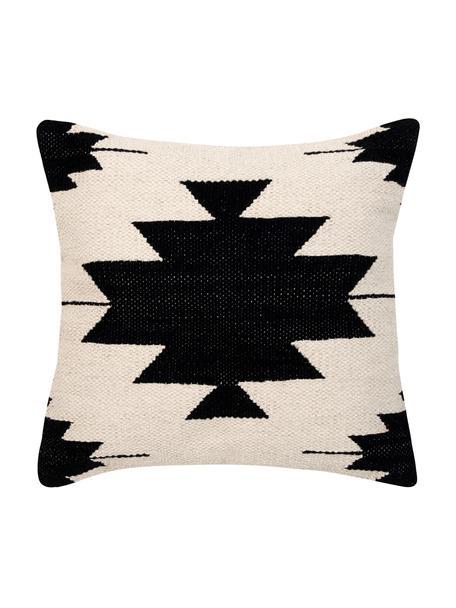 Funda de cojín Cancun, estilo étnico, 100%algodón, Negro, beige, An 45 x L 45 cm