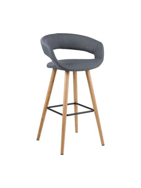 Barstoelen Grace, 2 stuks, Bekleding: 100% polyester, Poten: eikenhout, Bekleding: donkergrijs. Poten: eikenhoutkleurig. Voetsteun: zwart, 56 x 97 cm