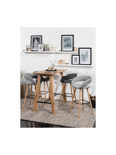 Barstühle Grace in Grau, 2 Stück, Bezug: 100% Polyester, Beine: Eichenholz, Bezug: Dunkelgrau Beine: Eichenholz Fußstütze: Schwarz, 56 x 97 cm