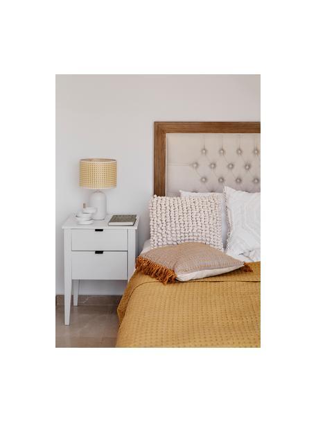 Weisser Nachttisch Sleepy mit Schubladen, Korpus: Mitteldichte Faserplatte , Griffe: Metall, pulverbeschichtet, Weiss, 48 x 65 cm