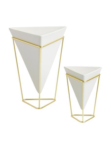 Set 2 vasi decorativi Trigg Desk, Portavasi: metallo ottonato, Vasi: bianco Portavasi: ottone, Set in varie misure