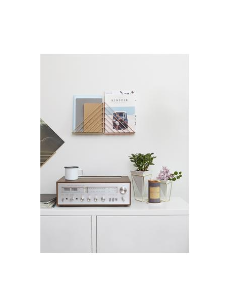 Vazenset Trigg Desk, 2-delig, Vazenhouders: vermessingd metaal, Vazen: wit. Vazenhouders: messingkleurig, Set met verschillende formaten