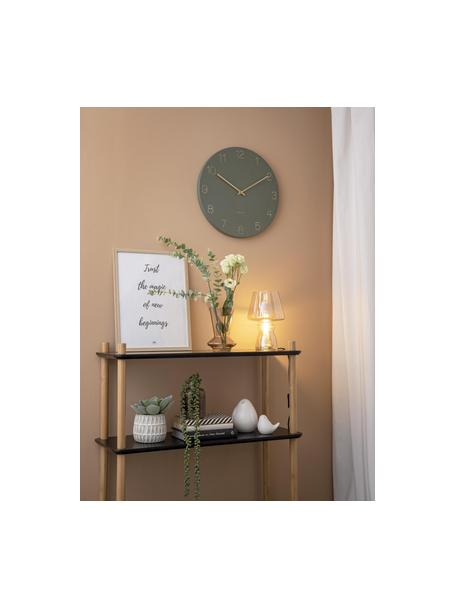 Zegar ścienny Charm, Metal powlekany, Zielony, odcienie mosiądzu, Ø 40 cm