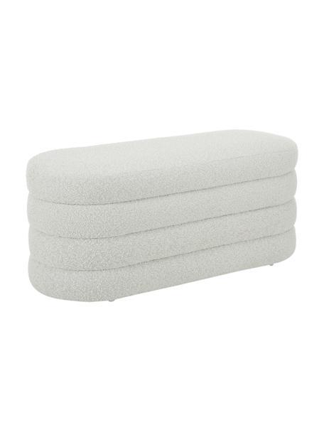 Banco tapizado en tejido bouclé Alto, Tapizado: tejido bouclé (100%polié, Estructura: madera de pino maciza, ma, Bouclé blanco crema, An 110 x Al 47 cm