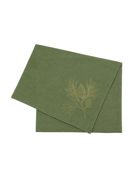 Bieżnik z bawełny Epicea, Bawełna, lureks, Zielony, odcienie złotego, S 50 x D 170 cm