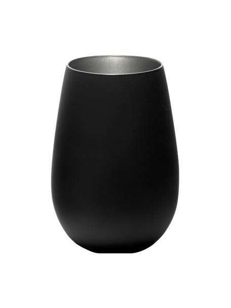 Kristallen longdrinkglazenset Elements in zwart/zilverkleur, 6-delig, Gecoat kristalglas, Zwart, zilverkleurig, Ø 9 x H 12 cm