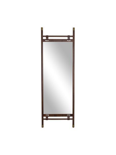 Scheve spiegel Riva met een bruin houten frame en leren riemen, Frame: beukenhout, Donkerbruin, 60 x 180 cm