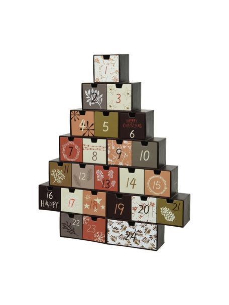 Adventskalender Riko, Papier, Zwart, beige, groen, crèmekleurig, wit, 37 x 44 cm