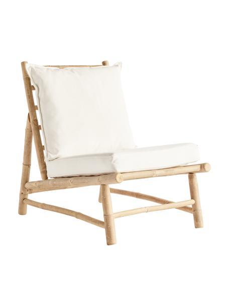 Sillón de bambú Bamslow, Estructura: madera de bambú, Funda: 100%algodón, Blanco, marrón, An 55 x F 87 cm
