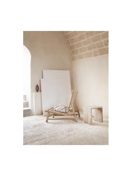 Bamboe loungefauteuil Bamslow met bekleding, Frame: bamboe, Bekleding: 100% katoen, Wit, bruin, 55 x 87 cm