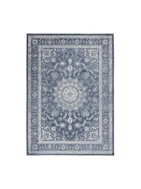 Viskoseteppich Tortona im Vintage Style, 70% Viskose, 30% Baumwolle, Blau, Cremefarben, B 140 x L 200 cm (Größe S)