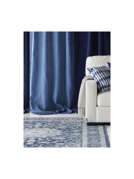 Alfombra Tortona, estilo vintage, 70%viscosa, 30%algodón, Azul, crema, An 140 x L 200 cm (Tamaño S)