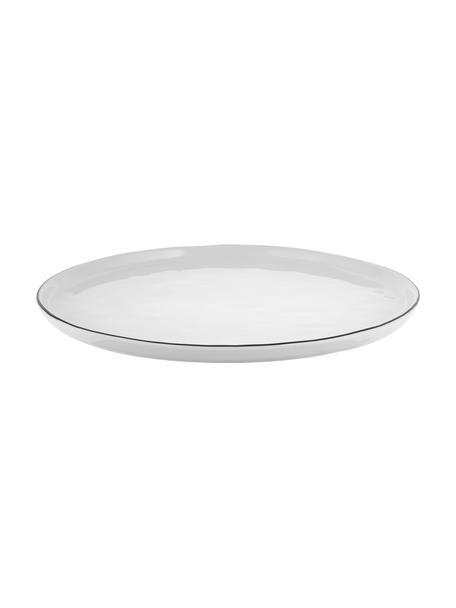 Piatto piano fatto a mano con bordo nero Salt 4 pz, Porcellana, Bianco latteo, nero, Ø 28 cm