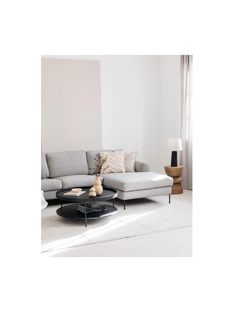 Grote salontafel Renee met opbergvak, Frame: gepoedercoat metaal, Tafelbladen: zwart. Frame: mat zwart, Ø 90 x H 39 cm