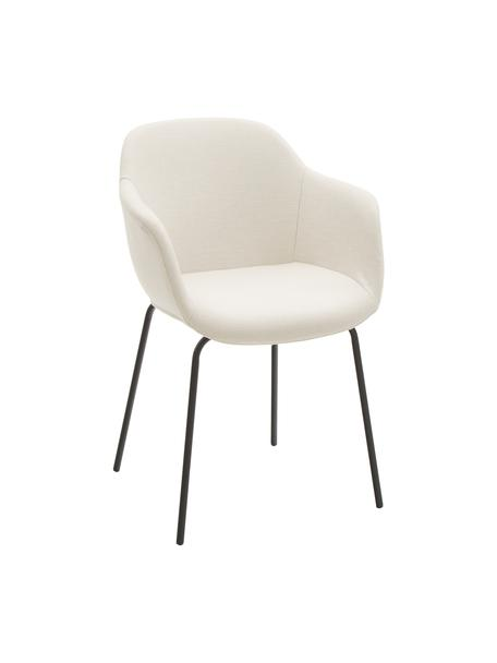 Sedia con braccioli e gambe in metallo Fiji, Rivestimento: poliestere 40.000 cicli d, Gambe: metallo verniciato a polv, Tessuto bianco crema, nero, Larg. 58 x Prof. 56 cm