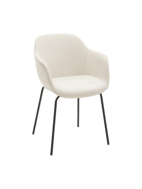 Sedia con gambe in metallo e braccioli Fiji, Rivestimento: poliestere 40.000 cicli d, Gambe: metallo verniciato a polv, Seduta: bianco crema Gambe: nero opaco, Larg. 58 x Prof. 56 cm