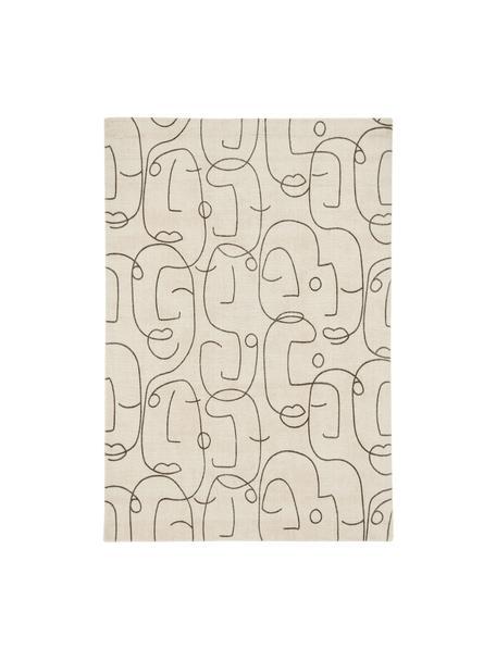 Ręcznie tuftowany dywan z wełny Epsilon, Kremowy, czarny, S 120 x D 180 cm (Rozmiar S)