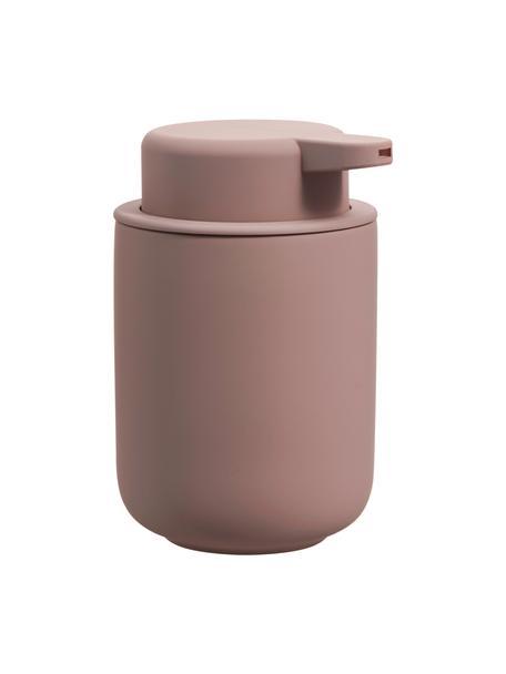 Dozownik do mydła z kamionki Omega, Brudny różowy, matowy, Ø 8 x W 13 cm