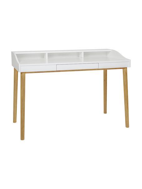 Bureau Lindenhof met kleine lade, Poten: gelakt eikenhout, Tafelblad en plank: wit. Poten: eikenhoutkleurig, 120 x 60 cm