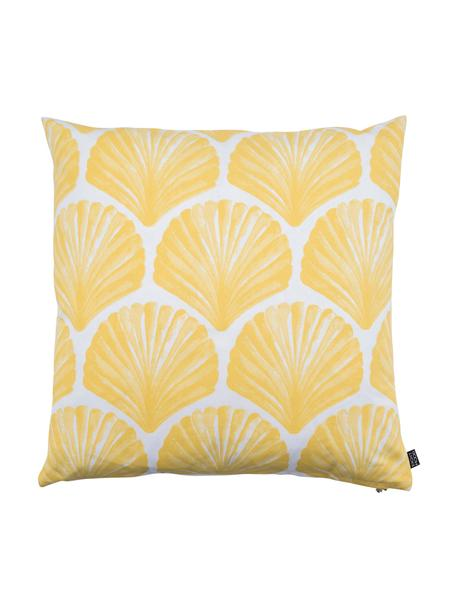 Kissenhülle Helix mit Muscheln, 100% Baumwolle, Weiß, Gelb, 50 x 50 cm