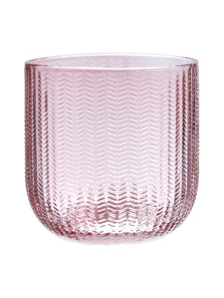 Kubek na szczoteczki ze szkła Emilia, Szkło, Blady różowy, Ø 8 x W 8 cm