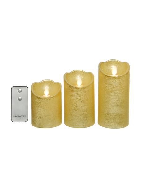 Set de velas LED Beno, 3uds, a pilas, Cera, Dorado, Set de diferentes tamaños