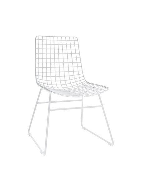 Metalen stoel Wire in wit, Gepoedercoat metaal, Wit, B 47 x D 54 cm