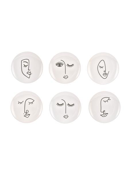 Handgemachte Frühstücksteller Face mit One-Line-Zeichnung, 6er-Set, Keramik, Weiß, Schwarz, Ø 20 cm