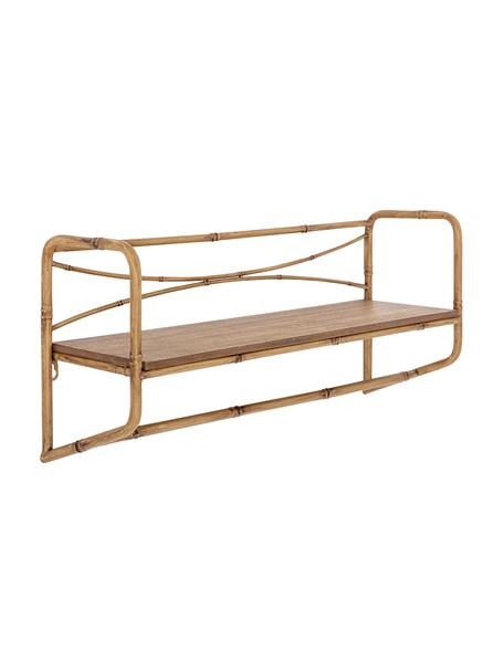 Mensola a muro in bambù Rod, Struttura: metallo, Ripiano: pannello di fibra a media, Marrone, Larg. 63 x Alt. 28 cm