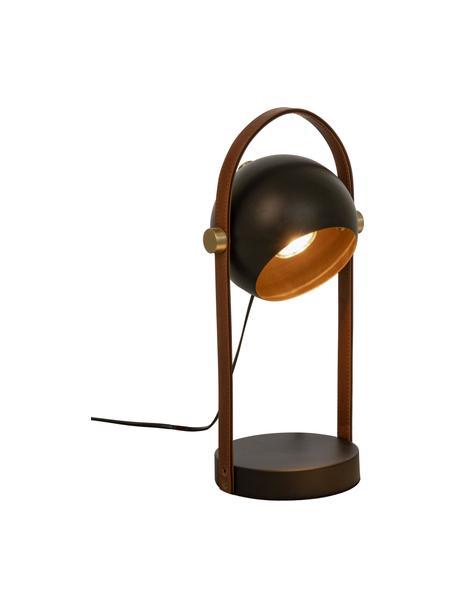 Lampada da tavolo con decoro in pelle Bow, Paralume: metallo rivestito, Struttura: similpelle, Base della lampada: metallo rivestito, Marrone, nero, Larg. 15 x Alt. 38 cm