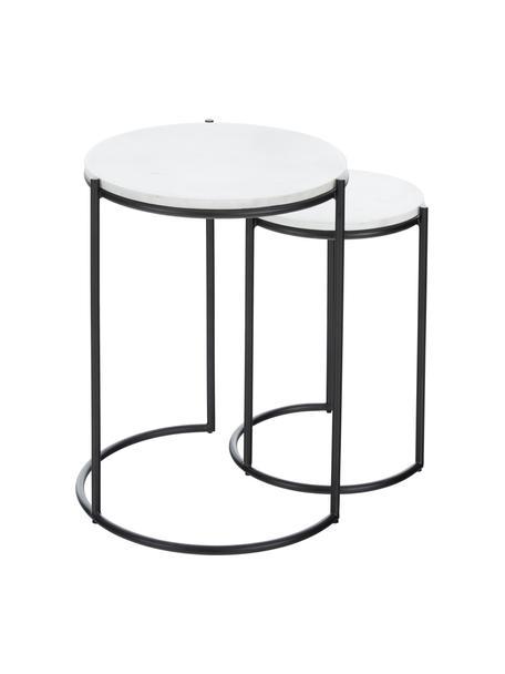 Komplet stolików pomocniczych z marmuru Ella, 2 elem., Blaty: biały marmur Stelaże: czarny, matowy, Komplet z różnymi rozmiarami