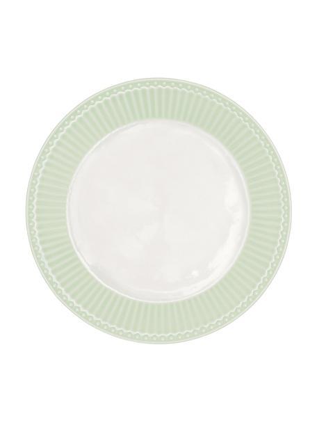 Handgemachte Frühstücksteller Alice in Pastellgrün mit Reliefdesign, 2 Stück, Steingut, Mintgrün, Weiß, Ø 23 cm