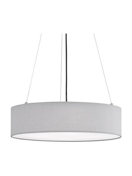 Lámpara de techo Pina, estilo clásico, Pantalla: tela, Anclaje: metal, Cable: cubierto en tela, Gris claro, Ø 50 x Al 13 cm
